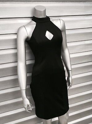 cacf48daaee FRENCH CONNECTION Black Scubalicious Cut Out Bodycon Lace Backless Dress  $158