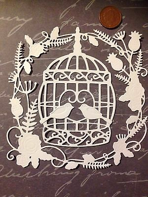 4x White Botanical Birdcage & Birds Die Cuts