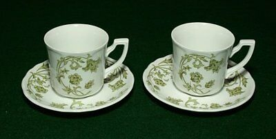 Royal Staffordshire Windsong 2 green cups/saucers J & B Meakin
