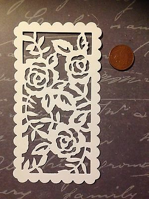 6x White Sizzix Rose Panel Die Cuts