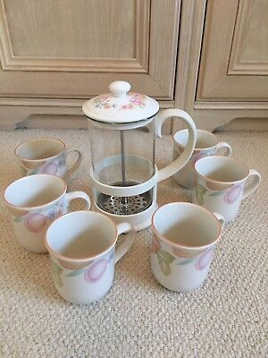 St Michael M&S Orange Blossom Coffee Set - Cafetière And Coffee Mugs