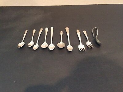 Vintage Lot Of 10 Silverplate Baby Spoons & Forks All Marked 2 Gerber Plus More