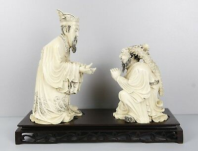 Antique Chinese Polycromed Group Wise And Inmortal With Wooden Stand