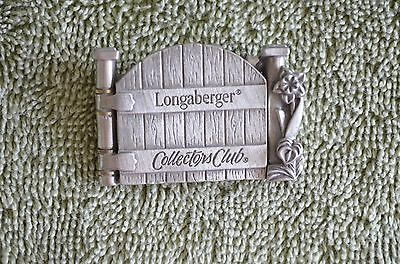 Longaberger Collectors Club Cottage Gate Tie-On Lapel Pin Pewter/NIB