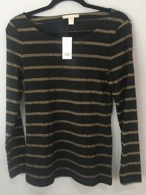 NWT...Women's Knit Top Shirt... Banana Republic... Size M Medium... Black & Gold