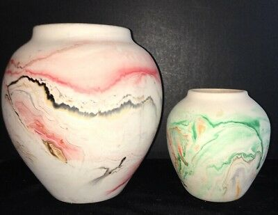 "Set of 2 Vintage Nemadji Pottery 5"" Green & Orange & Large 8"" Red & Gray Vases"