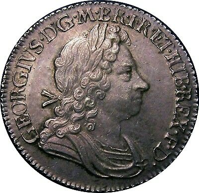 1718 George I Shilling Roses & Plumes S-3645 Early Milled (c.1662-1816)