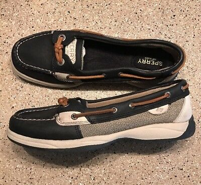 New Sperry Top Sider Women's Black Leather Boat Shoes Size 8 M