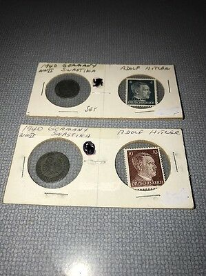 Lot Of Two Third Reich Coins And Stamps