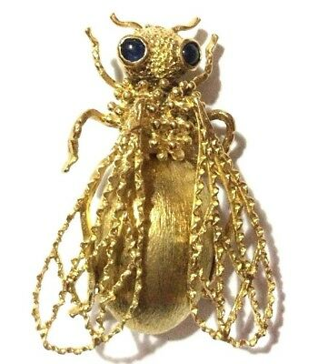 ITALIAN VINTAGE '60 SOLID 18kt GOLD NATURAL SAPPHIRES FLY BROOCH - SPILLA MOSCA