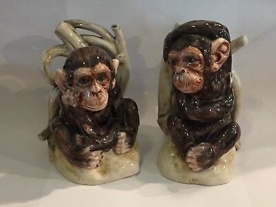 VINTAGE ITALY MAJOLICA POTTERY Pair Of Monkey Bookends Numbered Italy Mottahedeh
