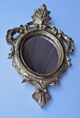Italian Gold Carved Wood Gesso Gilt Florentia Mirror Wall Decor Petite Accent