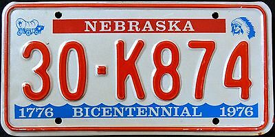 "NEBRASKA "" BICENTENNIAL - INDIAN - WAGON "" NE Graphic License Plate"