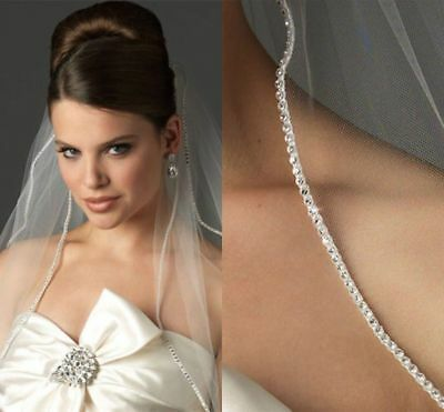 Light Ivory 1T 1 Tier Veil Swarovski Rhinestone METAL COMB Fingertip Wedding