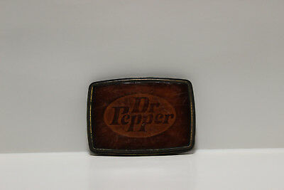 Dr. Pepper Brass and Leather Belt Buckle