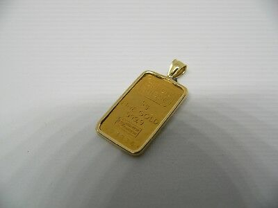 Credit Suisse 5 Gram .999 Fine Gold Bar Set In 14K Bezel 793336