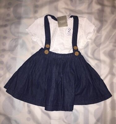 BNWT Next Baby Girl 6-9 Months Dungaree Skirt and White Lace Top