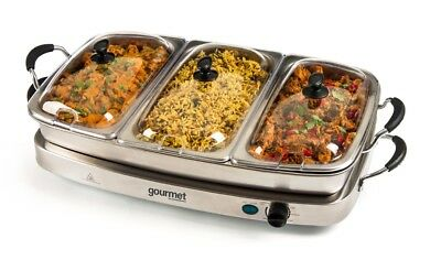 2 in 1 Gourmet Triple Buffet Server & Warming Tray Variable Temperature control