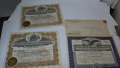 3 Old Stock Certificates With Mailing Envelope Victor Page Motors Corporation