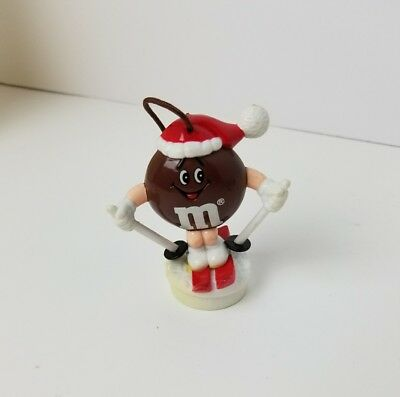Mars Candy M&M Brown Santa Hat Skiing Chocolate Candy Topper Ornament