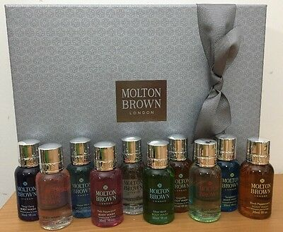Molton Brown 10x30ml Gift Set/Travel/Miniatures - In Grey Box with Ribbon