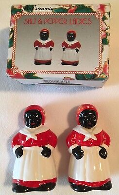 "Aunt Jemima Black American Salt and Pepper Shakers /New in Box/ 4"" tall/ Ceremic"