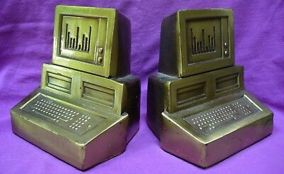 80s style computer monitor with disk drives BOOKENDS gold colored metal