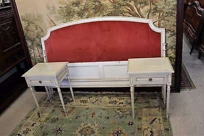 Beautiful Antique French Louis XVI Upholstered Queen Size Bed &2 Nightstand.