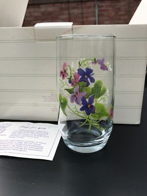 Avon Wild Violets Collection J. Walsh  6 Crystal Tumblers In 22kt Gold 1981 NIB