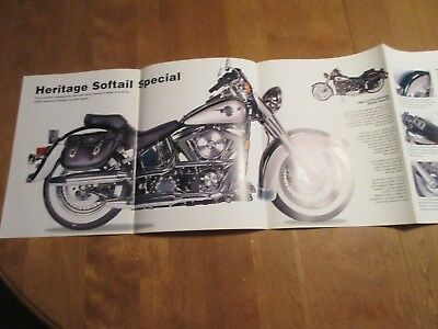 2 sided Harley Davidson Dyna Glide Con Heritage Softail  4 fold Poster 12 X 33