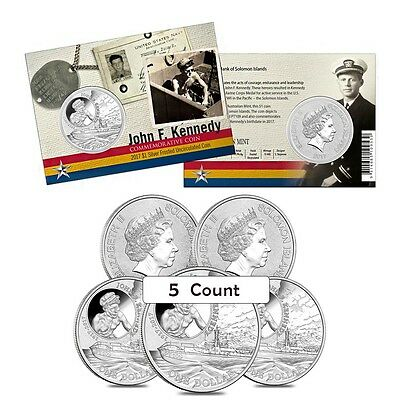 Lot of 5 - 2017 1 oz Silver John F. Kennedy JFK Solomon Islands $1 Coin .999 Fin