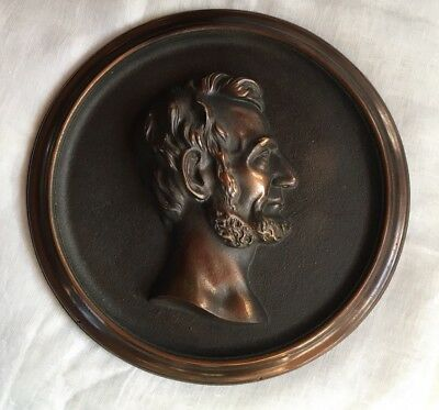 """Abraham Lincoln Cast Iron Wall Plaque 11"""" Rare Late 19th- Early 20th Century"""