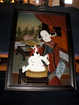 19 C Chinese Reverse Painting on Glass Woman/Mother Bathing Child w/Toy 22""