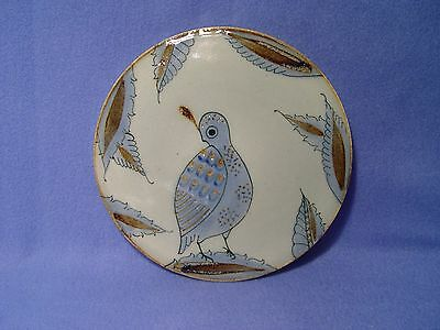 Palomar Mexico Art Pottery Blue Quail Bird Round Plate/ Trivet, Ken Edwards
