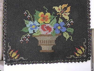 Colorful glass Bead floral, Quality - hand made -family Table Runner Vntg