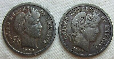 1906 And 1909 Barber Dimes
