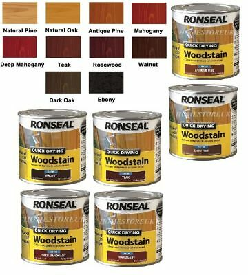 Ronseal Woodstain Satin 250ml In Different Colours Quick Drying