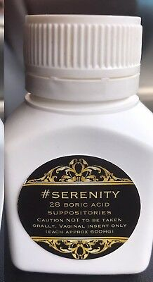 #SERENITY 28 Pure BORIC ACID Vaginal Capsules Suppositories Optimal PH Levels