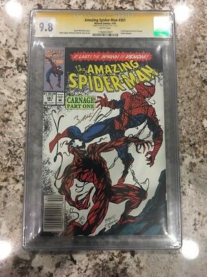 The Amazing Spider-Man 361 Newsstand CGC 9.8 SS, Signed Mark Bagley 1st Carnage