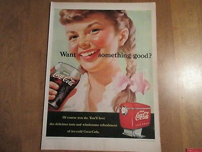 1951 Young Girl with Pigtails Drinking fountain Coke Coca-Cola promo print ad