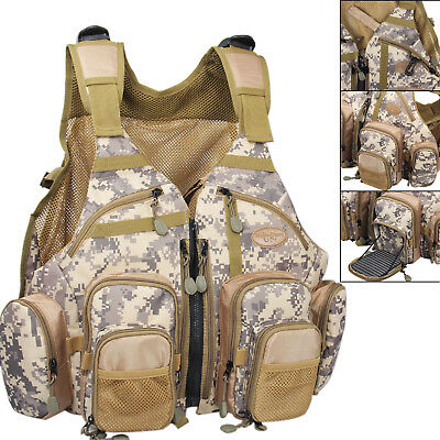 Fly Fishing Vest Camo Adjustable Multi Pocket Mesh Bag Outdoor Sports Vest