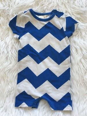 Boy's Seed One Piece Romper Blue Chevron