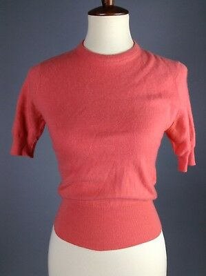 Vintage 1950's/1960's Salmon Cashmere Pinup Sweater By Ballantyne