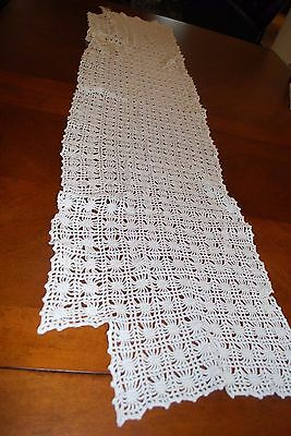 """Gorgeous Vintage Crochet Lace Doilie Table Buffet Runner Mantle Runner 60"""" Wow"""