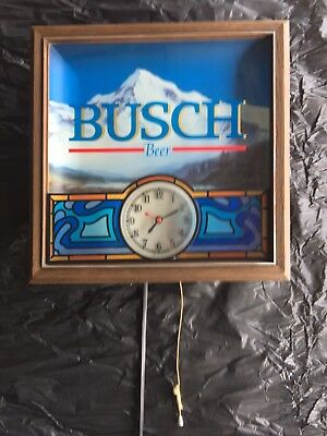 1997 Vintage Busch Beer Lighted Sign With Working Clock