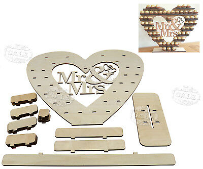 3D Wooden Heart Tree Mr & Mrs Wedding Display Chocolate Stand Table Centre Decor
