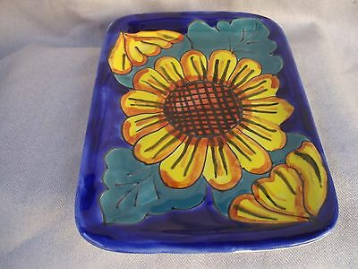 Mexican Talavera Hand Painted Flat Tray, Square Plate Pottery wall art, Ceramic