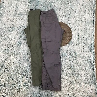 Dickies Womens Size Medium Scrub Pants Lot Of 2 gray and green cargo