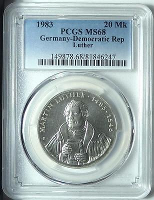 CHEAP!  East Germany 1983 20 Mark, Martin Luther, PCGS MS68!!!