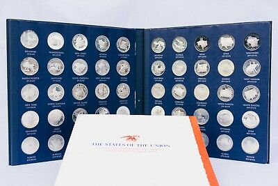 Franklin Mint States Of The Union Series   1st Edition Sterling Silver Proof Set